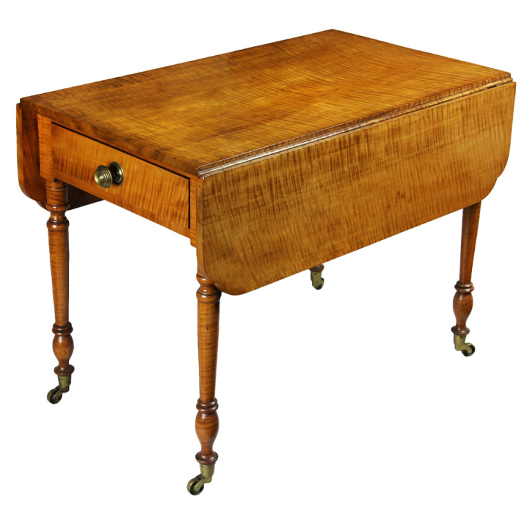 Below Is A Fine, American Tiger Maple Table, Circa 1810 In The Sheraton  Style.