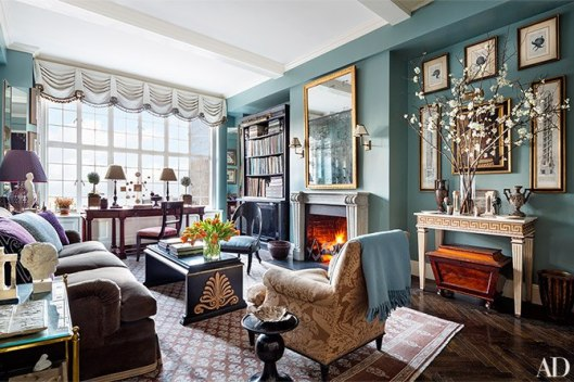 """-from Architectural Digest """"Classical meets contemporary in the family room of the recently renovated Manhattan apartment of interior decorator Alexa Hampton. The desk is from her collection for Hickory Chair, and she also designed the cocktail table (made by Frederick P. Victoria & Son) and the Jansen-style club chair."""""""