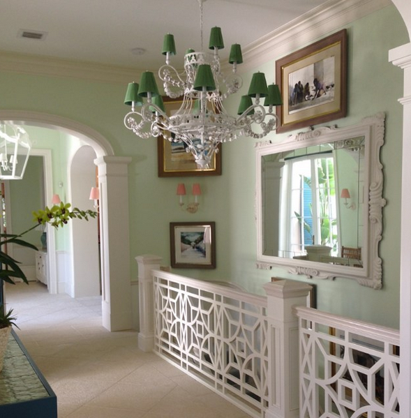 A honeydew painted hallway from a home Mr. Langham decorated in Florida.