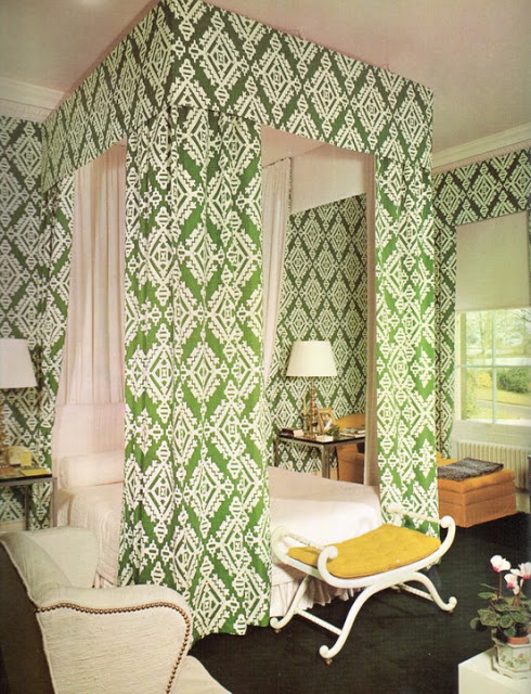 A timeless and chic green and white patterned bedroom by David Hicks.
